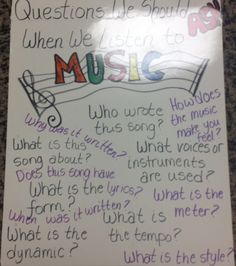 The Sweetest Melody: Anchor Charts and Posters - Questions We Should Ask When we Listen to Music Music Lesson Plans, Music Lessons, Singing Lessons, Singing Tips, Piano Lessons, Music Anchor Charts, Music Charts, Music Classroom, Classroom Ideas