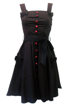 Hell Bunny Gery 50's 3/4 Polka Dot Dress Red   Gothic Clothing   Emo clothing   Alternative clothing   Punk clothing - Chaotic Clothing