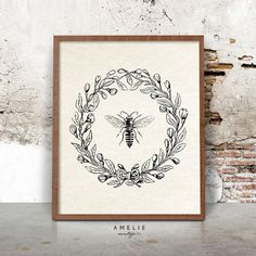 Bee Print Farmhouse Printable French Country by AMELIEVintageCo