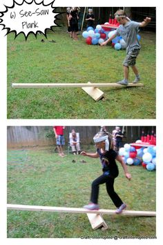"balance beam   samurai sword fights (whoever steps off first loses),  but we ended up skipping that one because our birthday  boy had a stomach ache in the middle of his party.  It's just a 2x4 raised up on a few pieces of scrap wood  and screwed together.  The ""swords"" were shortened  pool noodles with a section of PVC pipe stuffed in the end   for a handle to hang onto."