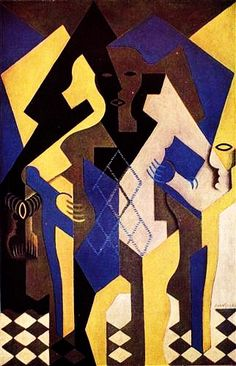 """""""Harlequin at a Table"""".....Artist: Juan Gris Completion Date: 1919 Style: Synthetic Cubism Genre: portrait Technique: oil Material: canvas Dimensions: 101 x 65 cm Gallery: Private Collection."""