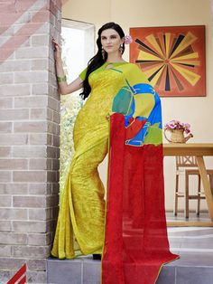 Georgette Yellow Printed Saree