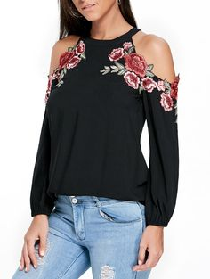 Open Shoulder Tops Women's Tops – Fashion Guide by Figure Type – Choose a Top Choose a top that is going very well with your figure. Women's Top – one of the most rema… Casual Tops For Women, Clothes Crafts, Crew Neck Shirt, Cute Tops, Cold Shoulder, Shoulder Tops, Long Sleeve Tops, Ideias Fashion, Embroidery Applique