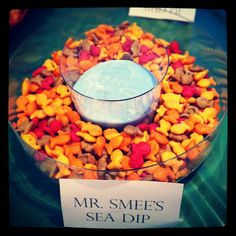 Peter Pan Party- Ranch dip with blue food coloring. Served with rainbow goldfish.