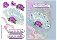 Lace Fan Pansy 60th 70th Birthday on Craftsuprint designed by Lorna Quinney - A pale blue and multi-coloured patterned background, with a layered lace fan decorated with a lilac pansy and purple jewels. Finished off with a choice of three greetings and a bow.  - Now available for download!