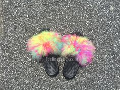 26230dc139d6d Gray Faux Fur Nike Slides