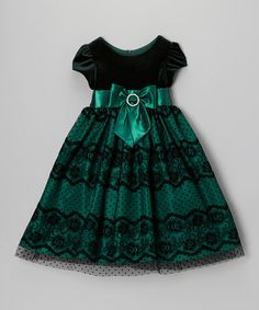 Take a look at this Green Velvet Lace Dress - Toddler & Girls by Jayne Copeland on #zulily today!