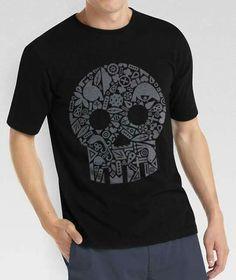 T-shirt cotone teschio con tradizione, stampa digitale. DamianiDesign by Filatex
