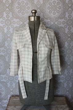 Women's Vintage 1950's Plaid Light Weight Cropped Jacket Small by pursuingandie, $40.00