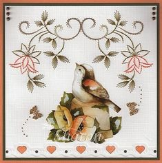 Paper Embroidery Patterns Pattern by Ann's Paper Art combined with Precious Marieke and Spellbinder Embroidery Cards, Learn Embroidery, Hand Embroidery Stitches, Embroidery For Beginners, Hand Embroidery Designs, Embroidery Patterns, Sewing Cards, Christmas Cards To Make, Card Patterns
