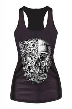 Black Skull Print Vest