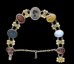 Seven Hellenistic and Roman hardstone intaglios set in a Victorian gold bracelet Circa 2nd Century BC - 3rd Century A.D.