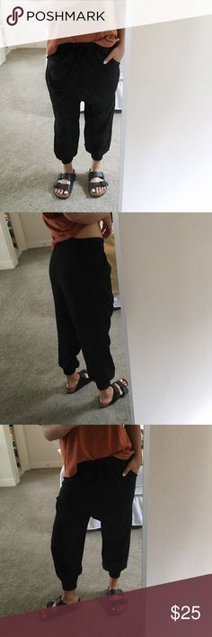 """Black Harem Drop Crotch Pants Not listed brand just tagged for exposure ** Cool drop crotch harem style black pants. Purchased overseas and tags were removed but never ended up wearing them. The waist and leg cuffs are a stretchy material. They're lightweight and perfect for summer. Partially lined from above the knee up. Fits maybe a S or so best. Good for someone probably 5'6"""" or so and shorter (I'm 5'4"""" and size S-M) Madewell Pants"""