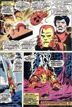 Iron Man gets a nose job! It's a long story why George Tuska nip/tucked Shellhead's faceplate. Lost in Stan's translation: writer Mike Friedrich.