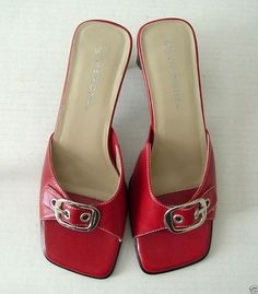 Merona Red Leather Heel Slides Shoes White Stitching Silver Buckle Size 6 1/2 M #Merona #Slides
