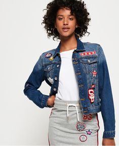 2fcc18d19a1e7 Shop Superdry Womens Girlfriend Denim Jacket in Tide Blue. Buy now with  free delivery from the Official Superdry Store.