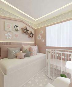Quarto de Bebe Cinza e Rosa: 40 Fotos para Inspirar Blush Nursery, Nursery Room, Baby Bedroom, Girls Bedroom, Little Girl Rooms, Baby Decor, Toddler Bed, Room Decor, Furniture