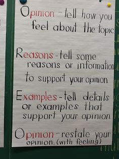 Ms. Sinclair's Grade One/Two: May 2012 | Opinion writing anchor chart