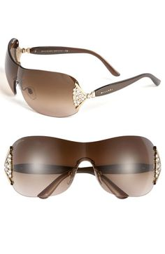 87a086c3f4c4 BVLGARI 63mm Swarovski Crystal Rimless Shield Sunglasses available at   Nordstrom Types Of Sunglasses
