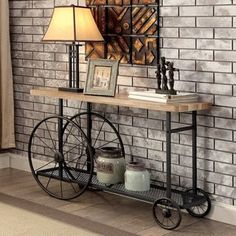 Furniture of America Galen Industrial Style Sand Black Wheeled Sofa Table | Overstock.com Shopping - The Best Deals on Coffee, Sofa & End Tables
