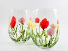 hand painted glasses of tulips Stemless Wine Glasses, Enamel Paint, Tulips, Hand Painted, Tableware, Crafts, Painting, Etsy, Google