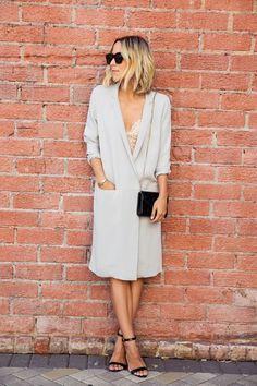 Damsel In Dior | COS Long Silk Jacket; Cosabella Soft Bra; Jimmy Choo Candy Acrylic Clutch; Manolo Blahnik Chaos Cuff Sandal