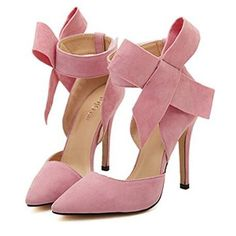 Cute - Adorable Pink Bow Heels Ankle Strap Pointy Toe Pumps Stiletto Heel Prom Shoes you best choice for Big day, Anniversary, Engagement, Honeymoon -TOP Design by FSJ Rosa High Heels, Pink High Heels, Pink Pumps, High Heels Stilettos, High Heel Boots, Womens High Heels, Pink Shoes, Woman Shoes High Heels, Blush Heels