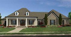 Acadian influenced house plan 83826JW: just over 3,000 square feet, 4 beds plus bonus over garage