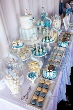 A Combined Christening and 1st Birthday by 3's A Party Candy Buffet and Party Supplies