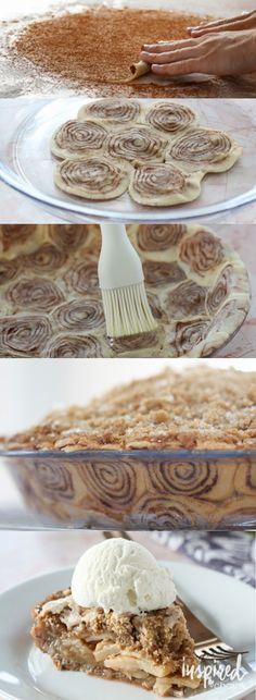 Cinnamon Roll Apple Pie // #pie
