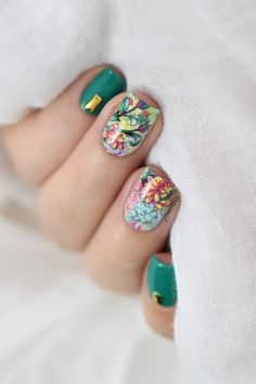 Marine Loves Polish: Studs x flowers water decals nail art