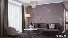 Kobiecy Apartament | Amadeusz Design Glamour Decor, Art Deco Decor, Loft, Couch, Ceiling Lights, Bedroom, Furniture, Design, Home Decor