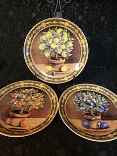 BAUM BROTHERS Formalities, Mediterranean Collection, Set of 3 Decorative Plates, Lemons Plums Oranges, Home Decor, T.V. Movie Prop, MINT! Plate Wall Decor, Plates On Wall, Plum Tree, Movie Props, China Dinnerware, Colorful Backgrounds, Decorative Plates, Lemon, Chips