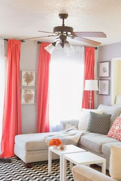 Sheets for drapes! Pop of coral. home decor and interior decorating interior house design interior design 2012 designs decorating Design Living Room, Home Living Room, Apartment Living, Living Room Decor, Dining Room, Sweet Home, Diy Casa, Home Interior, Interior Decorating