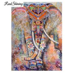 d3b3f6936a 5D Diamond Painting Colorful Adorned Elephant Kit Offered by Bonanza  Marketplace. www.BonanzaMarketplace.
