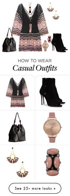 """""""Casual Wear"""" by rebeccadavisblogger on Polyvore featuring Anna Kosturova, Aquazzura, Olivia Burton and Rebecca Minkoff"""