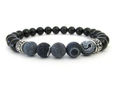 Stunning men's beaded stretch bracelet with 8mm black onyx beads, 8mm black crackle agate beads and pewter accent beads.: