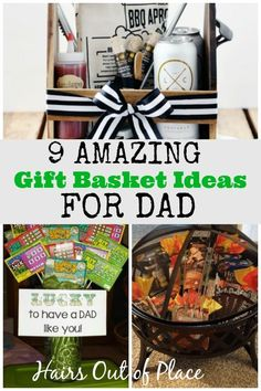 9 Unique Father's Day Gift Ideas that are easy to put together, thoughtful and gift ideas for him that he'll totally love! DIY Father's Day gifts are a special way to show how much you care. for him 9 Clever Gift Basket Ideas for Dad - Hairs Out of Place Special Gifts For Him, Bday Gifts For Him, Surprise Gifts For Him, Thoughtful Gifts For Him, Romantic Gifts For Him, Birthday Gifts, Birthday Basket, Father Birthday, Birthday Ideas
