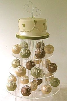 sage and taupe bauble wedding cake