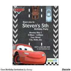 Shop Cars Birthday Invitation created by DisneyPixarCars. Personalize it with photos & text or purchase as is! Pixar Cars Birthday, Race Car Birthday, Cars Birthday Parties, Disney Birthday, Boy Birthday, Birthday Ideas, Birthday Stuff, Transportation Birthday, Dinosaur Birthday