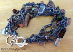 Pewter Statement #Crochet Bracelet free pattern by @Jennifer / Fiber Flux