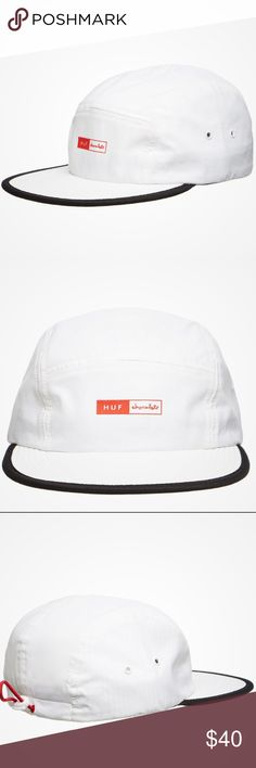 "RARE HUF x Chocolate Packable Volley Hat Cap Brand : HUF  Color:  White  Size : Adjustable   Material : Polyester  -HUF x Chocolate branding on front panel   -drawstring rear   -metal eyelets at vent holes   -interior includes taped seams and a moisture-absorbing sweatband  HUF and Chocolate skateboards have joined together for the ""Forever"" campaign, remembering the late NYC skateboarding legend and close friend of Keith Hufnagel, Keenan Milton who passed away back in 2001. HUF Accessories…"
