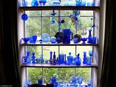 Blue Colbot Collection blue home vintage glass antique decorate cobalt..