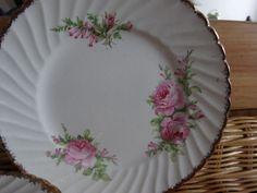 """Vintage Royal Alma China 6 !/2"""" Plates- Pink Roses and Gold Rim x 6"""