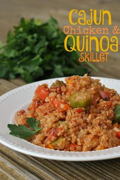 Cajun Chicken and Quinoa Skillet//Used a can of fire roasted salsa and added tabasco - Yum!