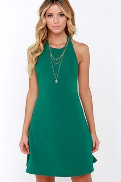 You can rely on the Count On Me Teal Green Halter Dress for any occasion! Textured stretch knit forms a sleeveless, halter dress that flows into a flattering trapeze shape. Cute Outfits For Kids, Outfits For Teens, Trendy Outfits, Teal Green Dress, Teal Blue, Juniors Clothing Online, Teal Cocktail Dress, Online Dress Shopping, Summer Dresses