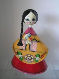 "1 of 6: Vintage Hand Painted Folk Art Mexican Doll Paper Mache Woman Side Braid 14"" tall"