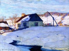 Sunset Normandy Artwork By Clarence Gagnon Oil Painting & Art Prints On Canvas For Sale Canadian Painters, Spanish Painters, Canadian Artists, Artist Art, Artist At Work, Clarence Gagnon, Winter Trees, Winter Art, Art Database
