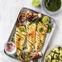 Squid Recipes, Seafood Recipes, Small Food Processor, Food Processor Recipes, Coriander Chicken Recipe, Bbq Squid, Baby Potato Salad, Salsa Verde Recipe, How To Make Salsa
