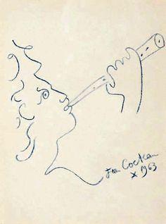 Jean Cocteau - Le Joueur de Flûte, 1963, dessin au crayon bleu, 27 x 20 cm